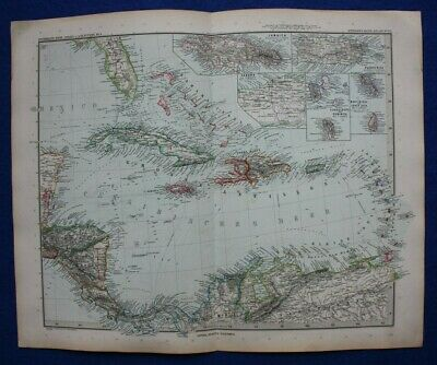 Original antique map CARIBBEAN, CUBA, WEST INDIES, JAMAICA, Stieler, 1891