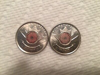 2 x 2004 CANADIAN UNCIRCULATED QUARTER with RED POPPY