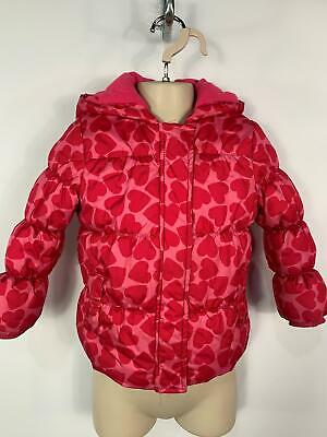Girls Mothercare Pink Heart Winter Casual Hood Padded Raincoat Kids Age 3/4 Year
