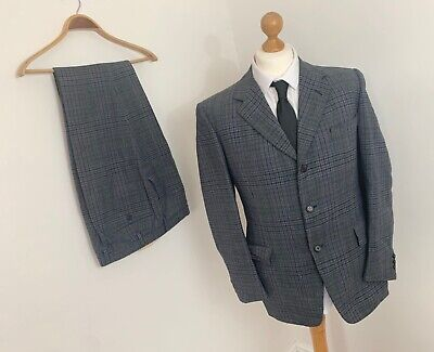 Vtg CHESTER BARRIE Blue Tweed Checked Wool Tailored Single Breasted Suit 41 R 34