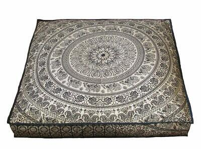 Indian Decor Floor Pillow Cover 35 '' Square Ottoman Cover