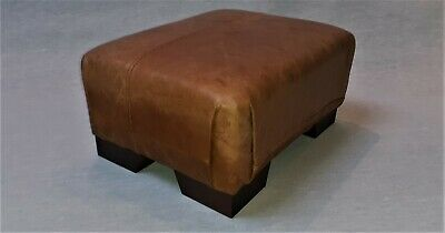 Footstool / Small Stool / Vintage real tan leather/ Brown   (Stool number 10)