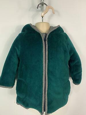 Girls Bout'chou Green Fluffy Casual Winter Jacket Hooded Coat Kids Age 2 Years