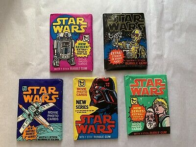 Topps Star Wars Wax Pack Trading Cards Series 1-5 Unopened 1977