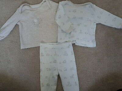 ♡ VGC Mothercare Baby Boys Girls 3-6m Pyjama Set Bundle White/Cream Cotton ♡