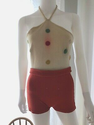 Vintage Bathingsuit 1930s Halter Red Knitted Authority NRA label wool Hollywood
