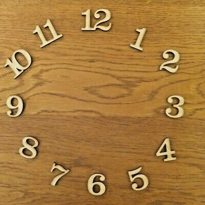 Wooden MDF 1.5cm. 2cm, 2.5cm, 3cm high clock numbers which are 3mm thick craft