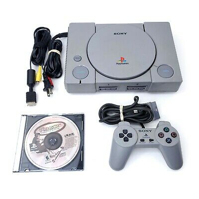 Sony PlayStation 1 (PS1) SCPH-1001 Console System w/ Controller, Cables, & Game