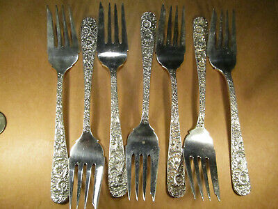 "Lot of 7 Kirk & Son Sterling Silver Repousse Salad Forks, No Mono, 6.25"", 239.9g"