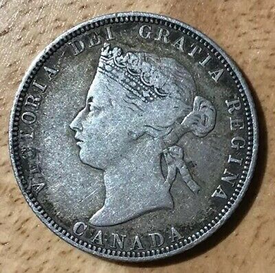 1870 Canada Canadian Silver 25 Cent Queen Victoria Coin VG - F