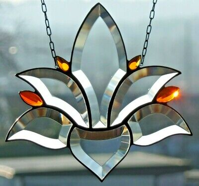 "Bleiverglasung Bleiglas Facetten- Fensterbild / Suncatcher ""Lotus"" in Tiffany"