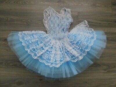 Beautiful bespoke Tutu (ballet, dance) pale blue and white size 2. age 8/9/10