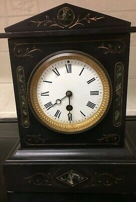 Classic French 8 Day Slate Mantel Clock Working