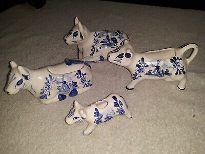 Vintage 5 PC LOT Vintage Bull COWS Creamer Butter Dish Blue White Delft Windmill