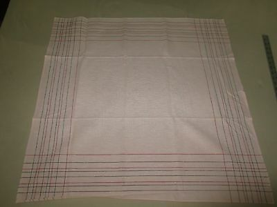"""PINK LINEN w/Red & Black Border Lines TABLECLOTH - 30.5"""" x 31"""" - UNUSED"""