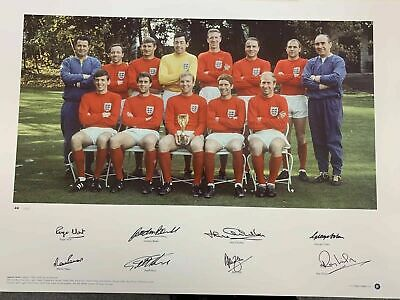 World Cup 1966 Hand Signed England Photo Coa Bobby Jack Charlton Martin Peters