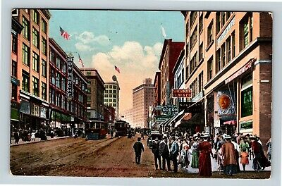 Seattle WA Vintage Street View of Trolley, Theater, Shop Washington Postcard T24