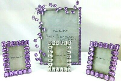 4pc set of Poetic Expressions Purple and White Rhinestone Jeweled Photo Frames