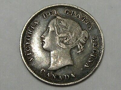 1893 Silver Canadian 5 Cent Coin. Queen Victoria.  #42