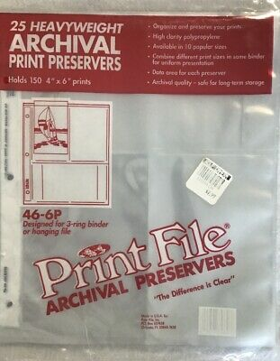 Print File 4x6 6P 25 Pages  Archival Storage Preserver Sheets, 46-6P-25