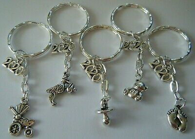 Baby Shower Gifts 2020 Keyrings Favours Prizes Mum to Be Thank You *PACK OF 5*