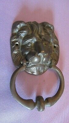 Vintage Heavy 1 1/4 pounds Solid Brass Lions Head Door Knocker