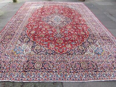 Vintage Worn Traditional Hand Made Rug Oriental Red Blue Wool Carpet 426x308m