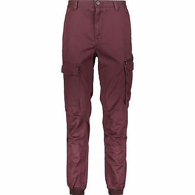 RIVER ISLAND Plum Burgundy Red Cuffed Cargo Chinos Khaki Trousers Pants W26