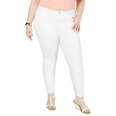 Style & Co. Womens White Twill High Rise Ankle Pants 14W BHFO 8376