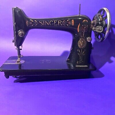 1911 Rare Lotus Decorated Antique Original Singer 66 Crank Sewing Machine