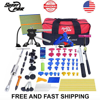 Paintless Dent Repair Puller Lifter PDR Tools T Bar Hammer Removal Glue kit