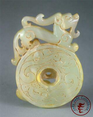 Antique Old Chinese Nephrite Celadon Jade Carved Bi Pendant Netsuke DRAGONS