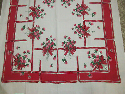 Pink Clover Red Border & Ribbon Bow Vintage Floral Cotton Print Tablecloth~OH MY