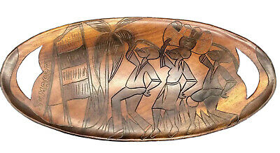 Vintage Double Sided Hand Carved Wood Serving Tray Platter Ornate Art Decor