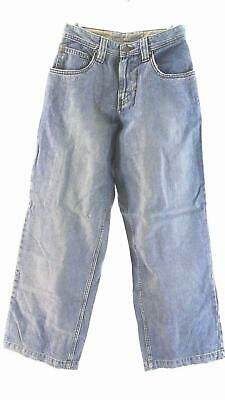Lee Dungarees Boys size 16 Cotton Light Wash Contrast Stitch Straight Leg CHOP
