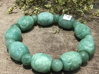 Chinese Exquisite Handmade Carving jadeite jade beads Bracelet certified2520