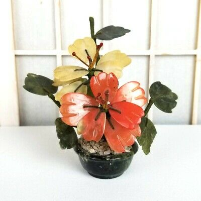 "Vintage Chinese Jade Flower Tree Quartz Glass Bonsai Blossom Plant 5"" Pink Cream"