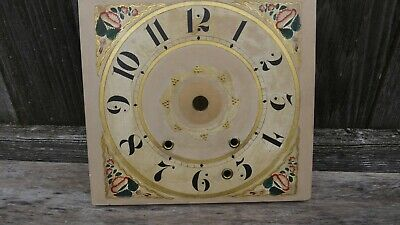 antique american wooden works shelf clock dial w/alarm wind
