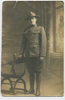 Military Postcard Real Photo US Marines World War I Era RPPC Uniform Bill's Co
