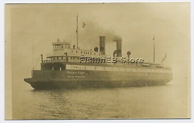 VTG Real Photo Postcard RPPC Chief Wawatam US Mail Railway Ferry Ship Michigan