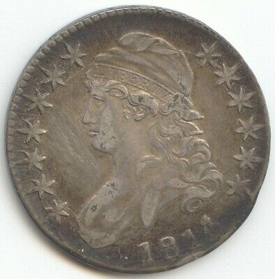 1814/3 Capped Bust Half Dollar, VF-XF Details, Overdate