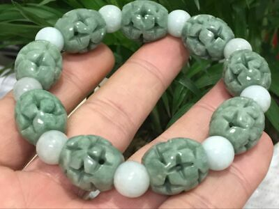 Chinese Exquisite Handmade flower Carving jadeite jade beads Bracelet16x17.6mm