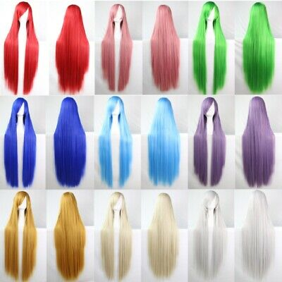 100cm Women Synthetic Hair Long Straight CosplayWigs with Bangs+Free Hair Cap AU