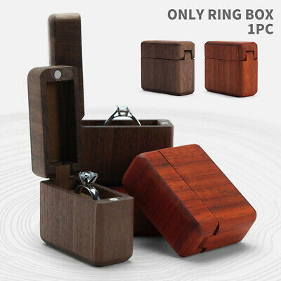 US Vintage Solid Wooden Jewelry Ring Case Box Container Display Wedding Proposal
