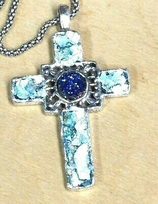 Roman Glass Pendent Cross Silver 925 Fragments 200 B.C  Ancient Holy Land