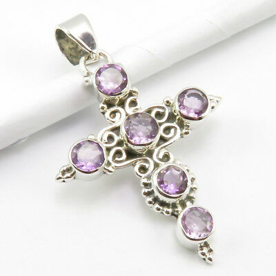 "925 Stamped Pure Sterling Silver Purple Amethyst Pendant 1.7"" Women's Jewelry"