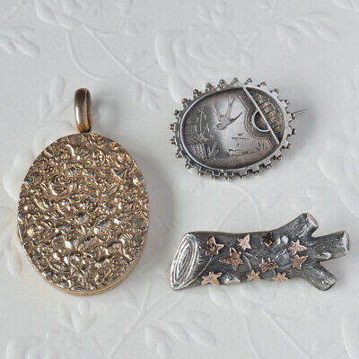 Antique Victorian Sterling Silver Jewellery Lot Swallow Japanese Brooch Locket