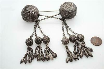 Unusual Large Antique Chinese Silver Hair Pins Tassel Brooch