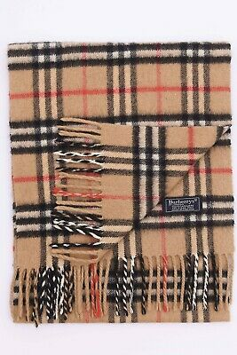 Genuine Burberrys 100% Cashmere Beige Check Vintage Scarf Made In England