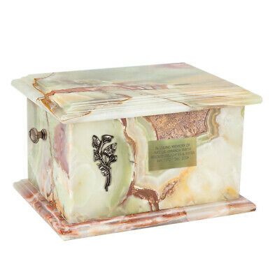 Stone casket Cremation  urn for Human Ashe  Natural Onyx Adult Personalised URN